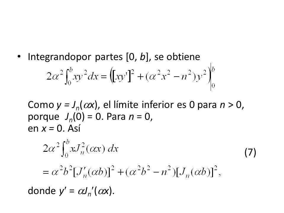 Integrandopor partes [0, b], se obtiene Como y = Jn(x), el límite inferior es 0 para n > 0, porque Jn(0) = 0. Para n = 0, en x = 0. Así (7)